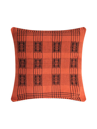 Pamo Orange and Black Cotton Handwoven Tribal Cushion Cover (L-16in, W-16in)