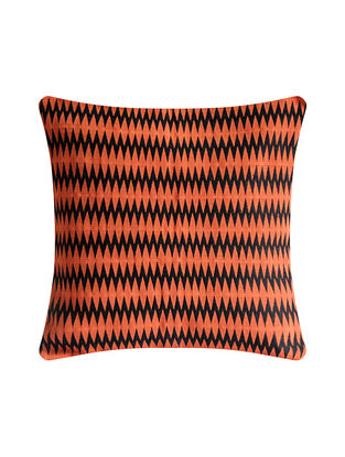 Patkai Rust Orange and Black Cotton Handwoven Tribal Cushion Cover (L-16in, W-16in)