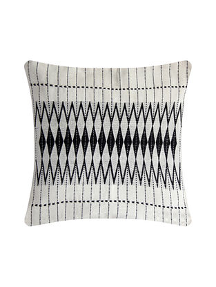 Dzukou Black and White Cotton Handwoven Tribal Cushion Cover (L-16in, W-16in)