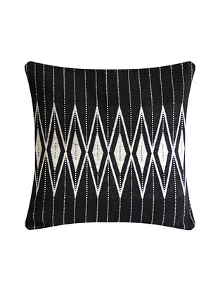 Kalabaka White and Black Cotton Handwoven Tribal Cushion Cover (L-16in, W-16in)
