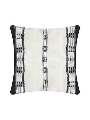 Khonoma Black and White Cotton Handwoven Tribal Cushion Cover (L-16in, W-16in)