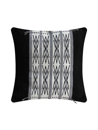 Japfu Black and White Cotton Handwoven Tribal Cushion Cover (L-16in, W-16in)