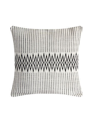 Andean Black and White Cotton Handwoven Tribal Cushion Cover (L-16in, W-16in)