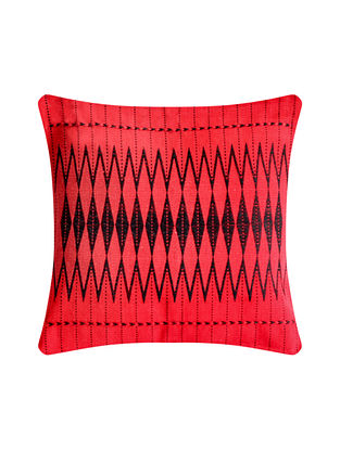 Dzukou Red and Black Cotton Handwoven Tribal Cushion Cover (L-16in, W-16in)