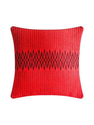 Andean Red and Black Cotton Handwoven Tribal Cushion Cover (L-16in, W-16in)