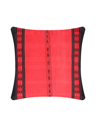 Khonoma Red and Black Cotton Handwoven Tribal Cushion Cover (L-16in, W-16in)