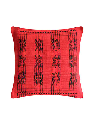 Pamo Red and Black Cotton Handwoven Tribal Cushion Cover (L-16in, W-16in)
