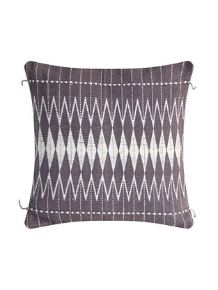 Dzukou Grey and White Cotton Handwoven Cotton Cushion Cover (L-16in, W-16in)
