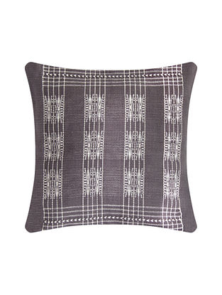 Pamo Grey and White Cotton Handwoven Tribal Cushion Cover (L-16in, W-16in)