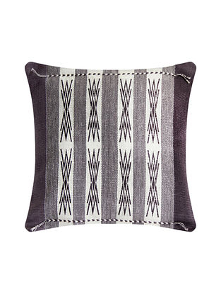 Japfu Grey and White Cotton Handwoven Tribal Cushion Cover (L-16in, W-16in)
