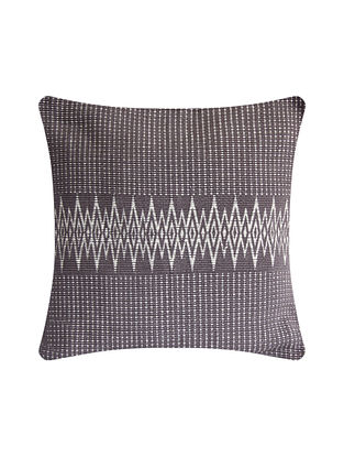 Andean Grey and White Cotton Handwoven Tribal Cushion Cover (L-16in, W-16in)