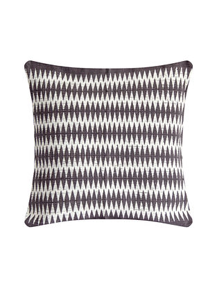 Patkai Grey and White Cotton Handwoven Tribal Cushion Cover (L-16in, W-16in)