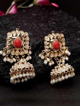 Red White Gold Tone Jadau Jhumki Earrings with pearls