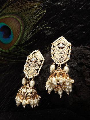 White Gold Tone Jadau Jhumki Earrings