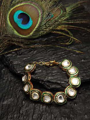 Green Meenakari Gold Tone Kundan Bracelet