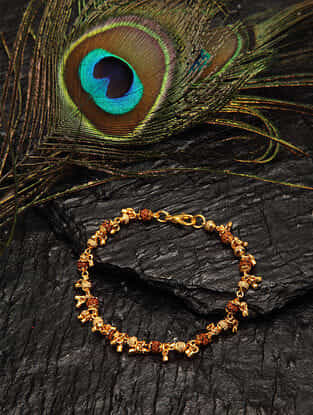Brown Gold Tone Beaded Bracelet