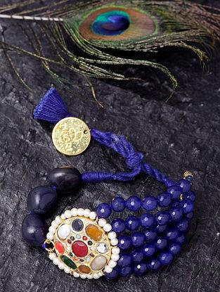 Multicolored Gold Tone Jadau Navratan Bracelet