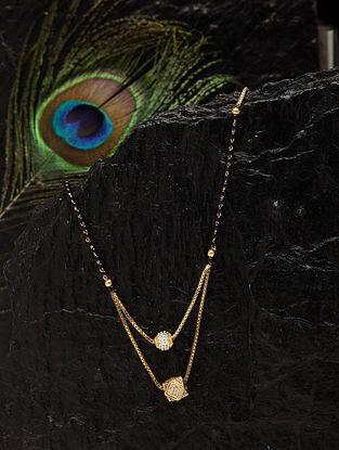 Black White Gold Tone Beaded Mangalsutra Necklace