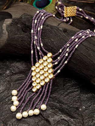 Purple Gold Tone Beaded Layered Kundan Necklace