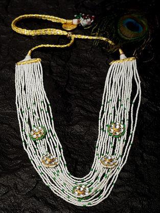 White Gold Tone Beaded Layered Kundan Necklace