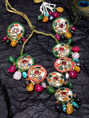 Multicolored Gold Tone Jadau Navratan Necklace With Earrings