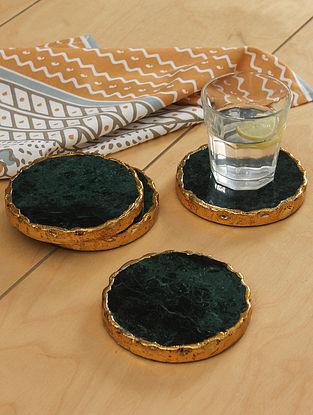 Green Marble Sheesh Coaster (Set Of 4)