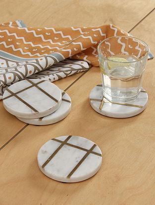 White Marble Brass Suraj Pol Coasters (Set Of 4)