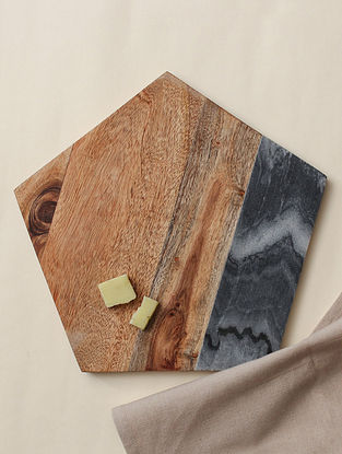 Brown Marble Baagh Cheese Platter (L - 10in, W-10in, H-0.5in)
