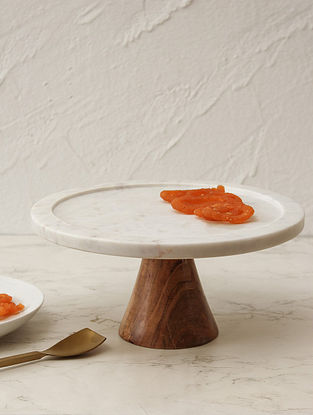 White Marble Wooden Cake Stand (Dia - 10in)