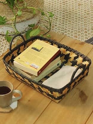 Black Avirat Bamboo Basket (L -14in ,W- 11in ,H -4in)