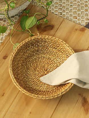 Beige Laksyam Cane Basket (L -12in ,W- 12in ,H -3in)
