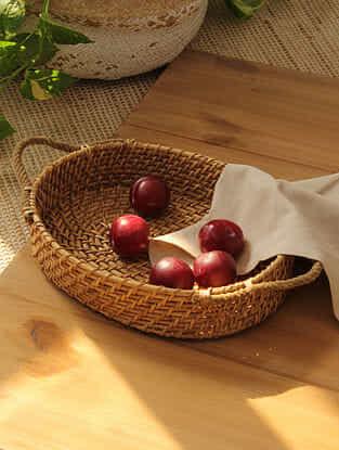 Beige Brown Vritta Cane Basket (L -12in ,W- 9in ,H -2in)