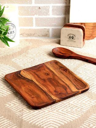 Acacia Wood Trago Square Platter  (L- 11in, W- 11in, H- 0.75in)