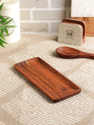 Acacia Wood Pappyrus Handy Platter (L- 12in, W- 5in, H- 0.75in)