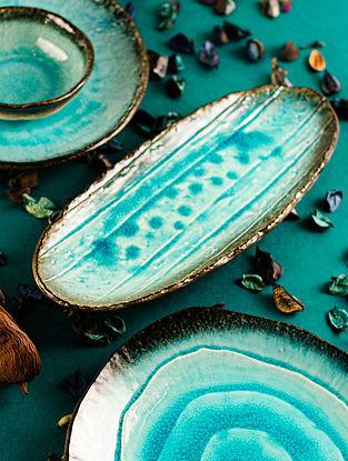 Aqua Blue Ceramic Aqua Oval Platter (L-13in, W-5in, H-0.5in)