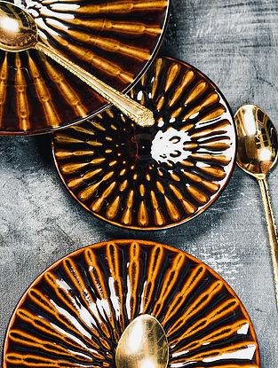 Brown Ceramic Dojou Dessert Plates (D-5.75in)