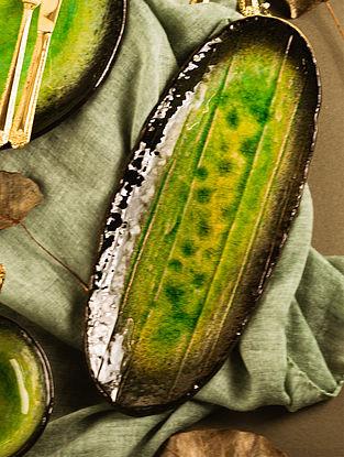 Green Ceramic Mori Platter (L-13in, W-5in, H-0.5in)