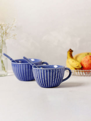 Blue Ceramic Ribbed Soup Bowls (D-4.25in, H-3in) (Set Of 2)