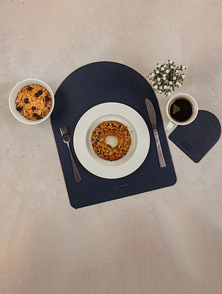 Blue Artificial Leather Midnight Tablemats With Coasters (Set Of 8)