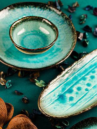 Aqua Blue Ceramic Mizu Plate (D-10in)