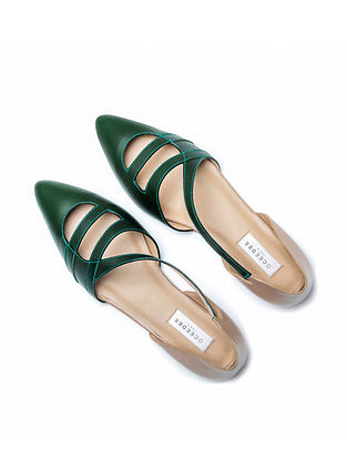 Green Nude Handcrafted Genuine Leather Mules