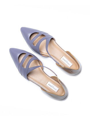 Blue Taupe Handcrafted Genuine Leather Mules