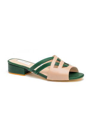 Green Nude Handcrafted Genuine Leather Block Heels