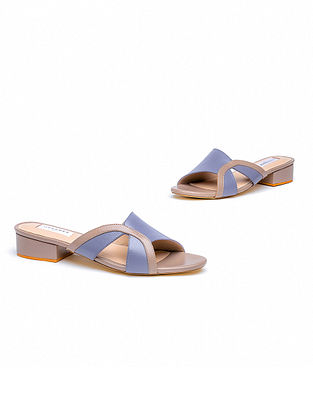 Blue Taupe Handcrafted Genuine Leather Block Heels
