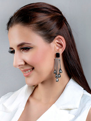 Black Silver Tone Handcrafted Earrings With Onyx And Zircon