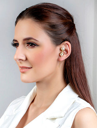 White Gold Tone Handcrafted Earcuffs With Pearls And Zircon