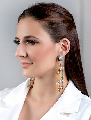 Multicolored Silver Tone Handcrafted Earrings With Pearls And Zircon