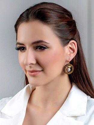 Brown Handcrafted Earrings With Pearls Agate And Zircon