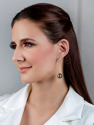 Brown Gold Tone Handcrafted Earrings With Pearls And Zircon