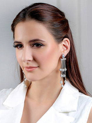 Grey Silver Tone Handcrafted Earrings With Pearls And Zircon